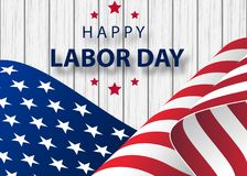 Happy Labor Day holiday banner with brush stroke background in United States national flag. Waving American flag with typography Labor Day, September 7th. Happy royalty free illustration