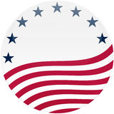 Waving American Flag on White with Stars. Election themed round button with 3d effect, American flag - clipping path included Royalty Free Stock Photography