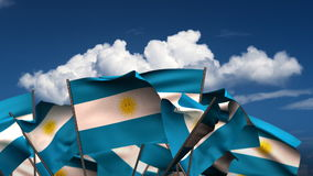 Waving Argentinian Flags stock footage