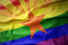 Waving arizona state rainbow gay pride flag banner. Waving arizona state colorful rainbow gay pride flag banner royalty free stock photo