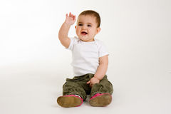 Waving Baby with a Smile royalty free stock images