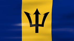 Waving Barbados Flag, ready for seamless loop Royalty Free Stock Photography