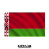 Waving Belarus flag on a white background. Vector illustration Royalty Free Stock Photo