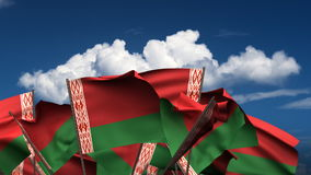 Waving Belarus Flags stock video