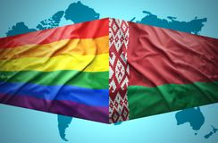 Waving Belarus and Gay flags Royalty Free Stock Photos