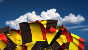 Waving Belgian Flags stock footage
