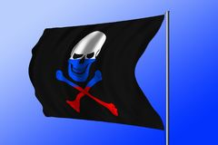Waving pirate flag combined with Russian flag Stock Photography