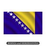 Waving Bosnia and Herzegovina flag on a white background. Vector illustration Stock Photos