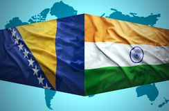 Waving Bosnian and Indian flags Stock Image