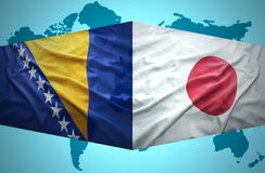 Waving Bosnian and Japanese flags Royalty Free Stock Photos