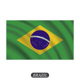 Waving Brazil flag on a white background. Vector illustration Stock Photography