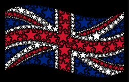 Waving United Kingdom Flag Mosaic of Fireworks Star Items. Waving British flag on a black background. Vector fireworks star icons are united into mosaic UK flag Royalty Free Stock Photography