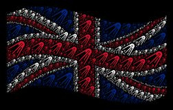 Waving British Flag Mosaic of First Satellite Icons. Waving Great Britain state flag on a black background. Vector first satellite design elements are arranged Royalty Free Stock Image
