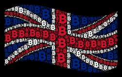 Waving British Flag Pattern of Bitcoin Icons. Waving Great Britain official flag on a black background. Vector Bitcoin elements are grouped into conceptual Stock Photos