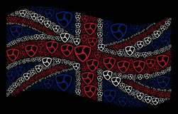 Waving British Flag Pattern of NEM Currency Items. Waving British flag on a black background. Vector NEM currency elements are united into mosaic English flag Stock Photos