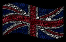 Waving British Flag Pattern of School Of Fish Icons. Waving United Kingdom state flag on a black background. Vector school of fish icons are formed into Royalty Free Stock Images