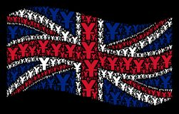Waving Great Britain Flag Mosaic of Yuan Items. Waving British official flag on a black background. Vector yuan design elements are organized into mosaic United Stock Image