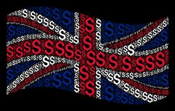 Waving Great Britain Flag Collage of Dollar Icons. Waving British state flag on a black background. Vector dollar design elements are formed into geometric Royalty Free Stock Photo