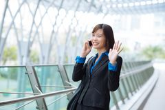 Waving business lady Royalty Free Stock Images