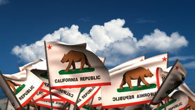 Waving California State Flags stock video footage