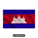 Waving Cambodia flag on a white background. Vector illustration Stock Photos
