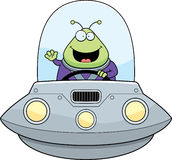 Waving Cartoon Alien UFO Royalty Free Stock Images