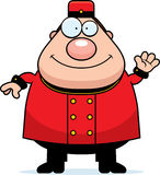 Waving Cartoon Bellhop Royalty Free Stock Photo
