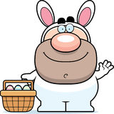 Waving Cartoon Easter Bunny Stock Images