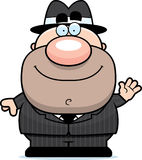 Waving Cartoon Mobster. A cartoon illustration of a mobster waving Stock Photo
