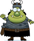 Waving Cartoon Orc Stock Image