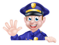Waving Cartoon Police Man Stock Photo