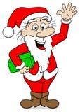 Waving cartoon santa claus on white Royalty Free Stock Photos