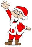 Waving cartoon santa claus on white Stock Photos