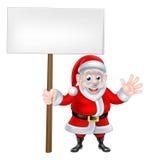 Waving Cartoon Santa Sign Royalty Free Stock Images
