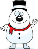 Waving Cartoon Snowman Royalty Free Stock Photos