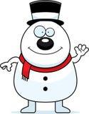 Waving Cartoon Snowman Royalty Free Stock Photos