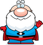 Waving Cartoon Superhero Grandpa Royalty Free Stock Photography