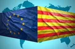 Waving Catalonia and European Union flags Royalty Free Stock Photo