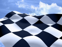 Waving a checkered flag. On day Royalty Free Stock Image