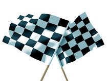Waving a checkered flag. On sky Stock Images