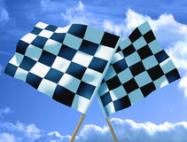 Waving a checkered flag. On sky Royalty Free Stock Photo