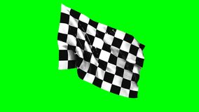 Waving checkered flag animation with green screen, sports stock video footage