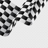 Waving checkered flag on transparent background. Racing flag. Vector illustration. Waving checkered flag on transparent background. Racing flag Royalty Free Stock Images