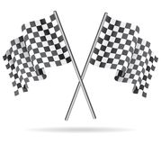 Waving Checkered racing flag. Vector illustration. Stock Photos