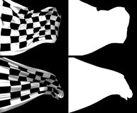 Waving Checkers Flags Royalty Free Stock Image