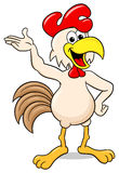 Waving cheerful cartoon chicken Royalty Free Stock Photos