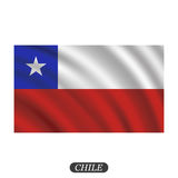 Waving Chile flag on a white background. Vector illustration Stock Photos