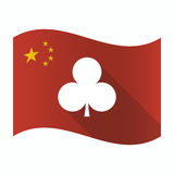 Waving China flag with the Club poker playing card sign. Illustration of a waving China flag with the Club poker playing card sign stock illustration