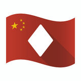 Waving China flag with the diamond poker playing card sign. Illustration of a waving China flag with the diamond poker playing card sign vector illustration
