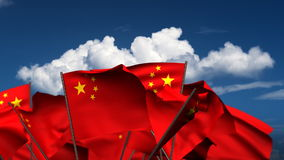 Waving Chinese Flags stock footage